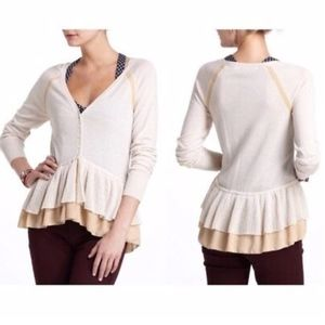 Knitted & Knotted (Anthro) light peplum cardigan S